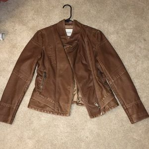 Never worn! Brown leather jacket